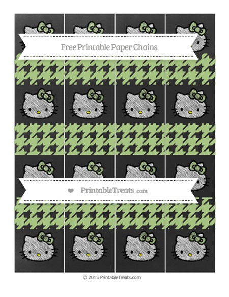Free Pastel Light Green Houndstooth Pattern Chalk Style Hello Kitty Paper Chains
