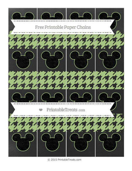 Free Pastel Light Green Houndstooth Pattern Chalk Style Mickey Mouse Paper Chains