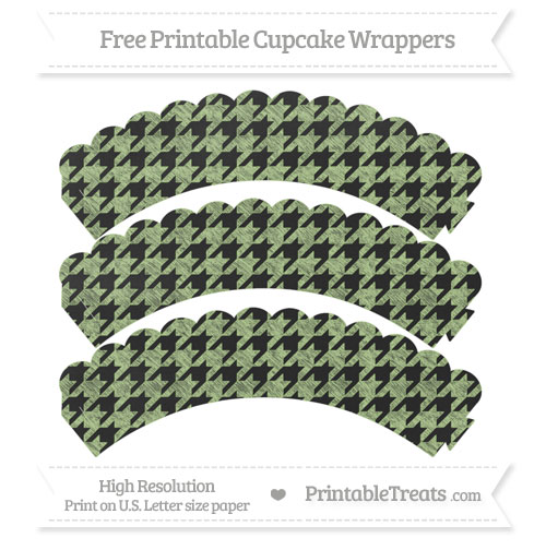 Free Pastel Light Green Houndstooth Pattern Chalk Style Scalloped Cupcake Wrappers