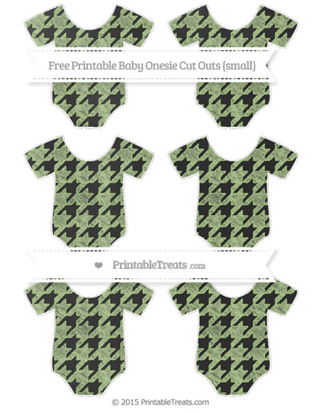 Free Pastel Light Green Houndstooth Pattern Chalk Style Small Baby Onesie Cut Outs