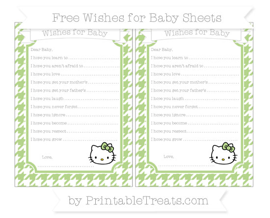Free Pastel Light Green Houndstooth Pattern Hello Kitty Wishes for Baby Sheets