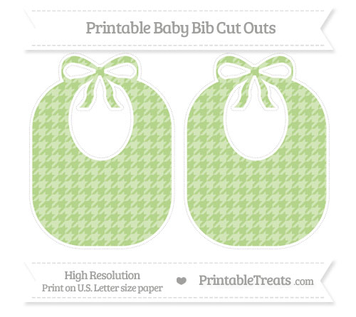 Free Pastel Light Green Houndstooth Pattern Large Baby Bib Cut Outs