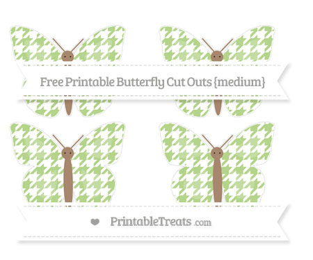 Free Pastel Light Green Houndstooth Pattern Medium Butterfly Cut Outs