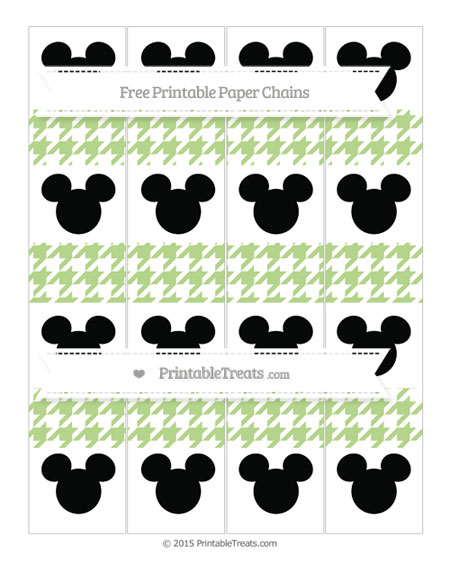 Free Pastel Light Green Houndstooth Pattern Mickey Mouse Paper Chains