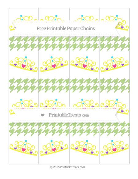 Free Pastel Light Green Houndstooth Pattern Princess Tiara Paper Chains