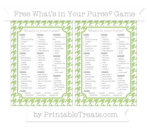 Free Pastel Light Green Houndstooth Pattern What's in Your Purse Baby Shower Game