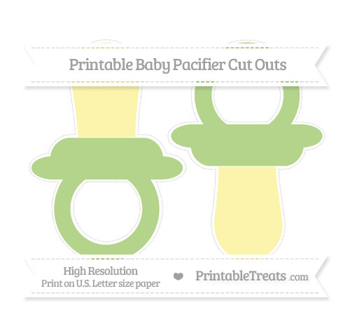 Free Pastel Light Green Large Baby Pacifier Cut Outs