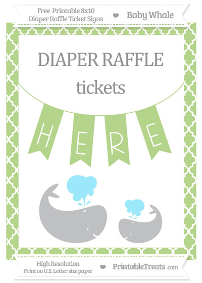 Free Pastel Light Green Moroccan Tile Baby Whale 8x10 Diaper Raffle Ticket Sign
