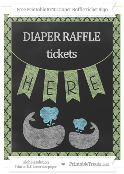 Free Pastel Light Green Moroccan Tile Chalk Style Baby Whale 8x10 Diaper Raffle Ticket Sign