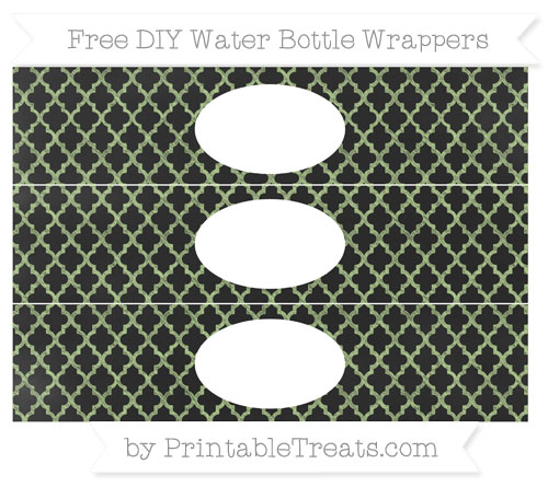 Free Pastel Light Green Moroccan Tile Chalk Style DIY Water Bottle Wrappers