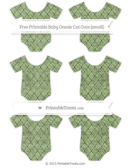 Free Pastel Light Green Moroccan Tile Chalk Style Small Baby Onesie Cut Outs