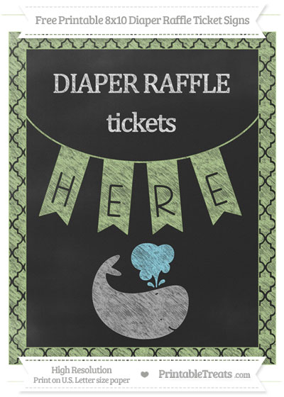 Free Pastel Light Green Moroccan Tile Chalk Style Whale 8x10 Diaper Raffle Ticket Sign