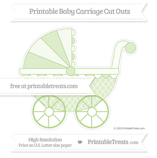 Free Pastel Light Green Moroccan Tile Extra Large Baby Carriage Cut Outs