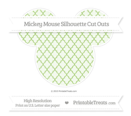 Free Pastel Light Green Moroccan Tile Extra Large Mickey Mouse Silhouette Cut Outs