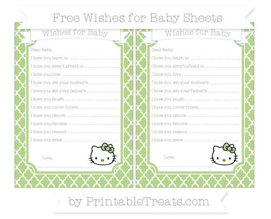 Free Pastel Light Green Moroccan Tile Hello Kitty Wishes for Baby Sheets