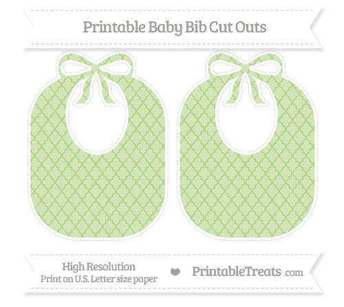 Free Pastel Light Green Moroccan Tile Large Baby Bib Cut Outs