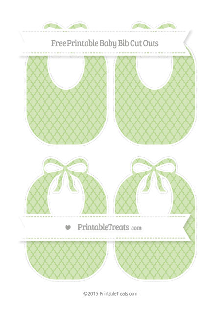Free Pastel Light Green Moroccan Tile Medium Baby Bib Cut Outs