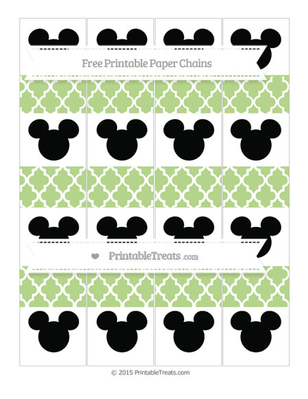 Free Pastel Light Green Moroccan Tile Mickey Mouse Paper Chains