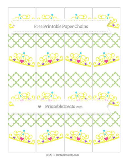 Free Pastel Light Green Moroccan Tile Princess Tiara Paper Chains