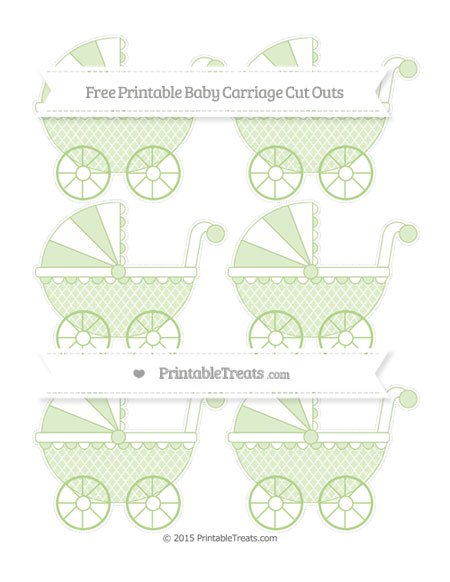 Free Pastel Light Green Moroccan Tile Small Baby Carriage Cut Outs