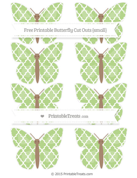 Free Pastel Light Green Moroccan Tile Small Butterfly Cut Outs