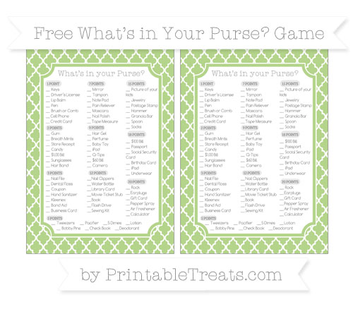 Free Pastel Light Green Moroccan Tile What's in Your Purse Baby Shower Game