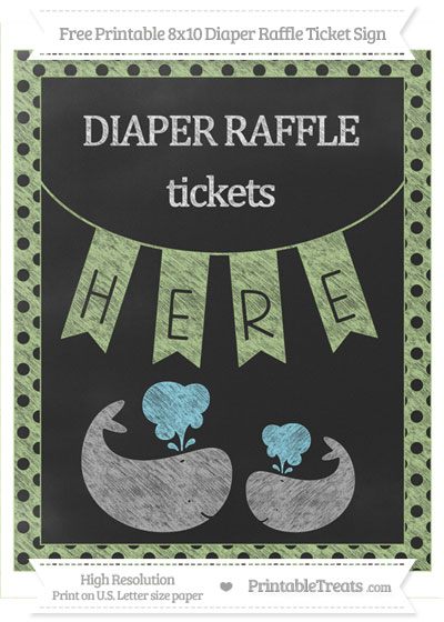 Free Pastel Light Green Polka Dot Chalk Style Baby Whale 8x10 Diaper Raffle Ticket Sign