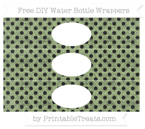 Free Pastel Light Green Polka Dot Chalk Style DIY Water Bottle Wrappers