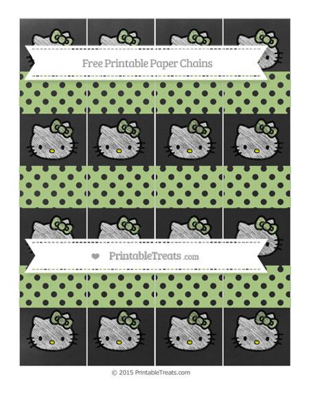 Free Pastel Light Green Polka Dot Chalk Style Hello Kitty Paper Chains