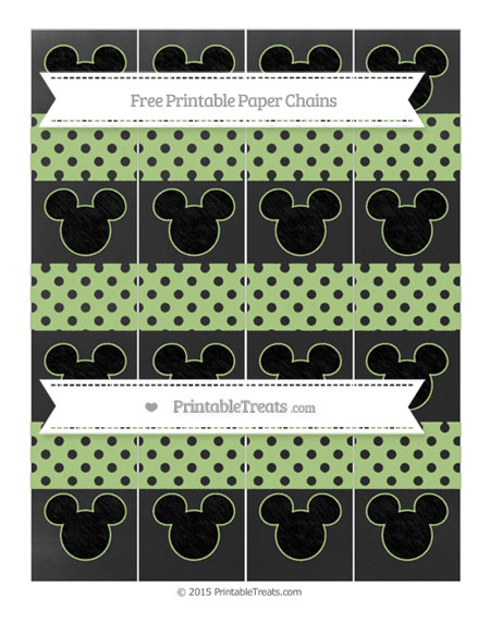 Free Pastel Light Green Polka Dot Chalk Style Mickey Mouse Paper Chains