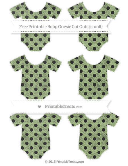 Free Pastel Light Green Polka Dot Chalk Style Small Baby Onesie Cut Outs