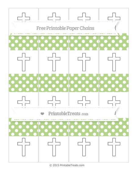 Free Pastel Light Green Polka Dot Cross Paper Chains
