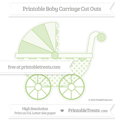Free Pastel Light Green Polka Dot Extra Large Baby Carriage Cut Outs