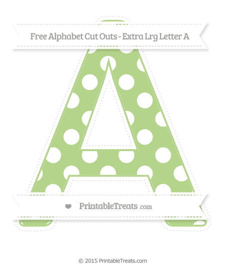 Free Pastel Light Green Polka Dot Extra Large Capital Letter A Cut Outs