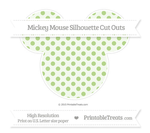 Free Pastel Light Green Polka Dot Extra Large Mickey Mouse Silhouette Cut Outs