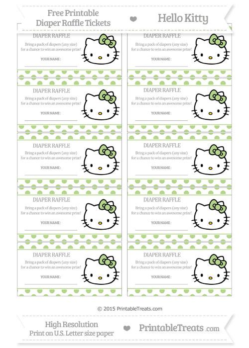 Free Pastel Light Green Polka Dot Hello Kitty Diaper Raffle Tickets