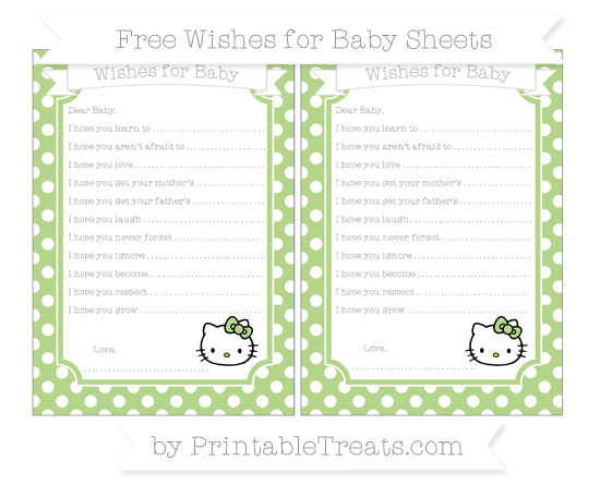 Free Pastel Light Green Polka Dot Hello Kitty Wishes for Baby Sheets