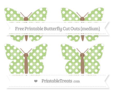 Free Pastel Light Green Polka Dot Medium Butterfly Cut Outs