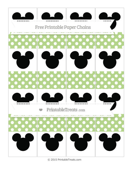 Free Pastel Light Green Polka Dot Mickey Mouse Paper Chains