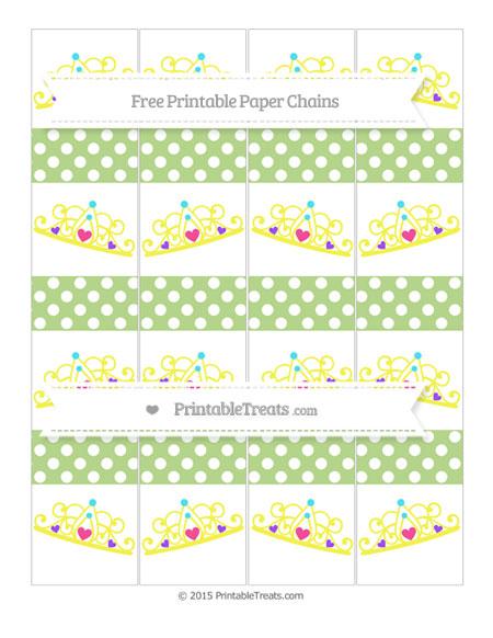 Free Pastel Light Green Polka Dot Princess Tiara Paper Chains