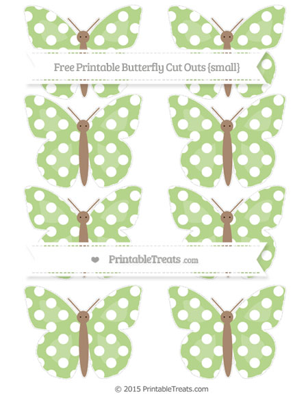 Free Pastel Light Green Polka Dot Small Butterfly Cut Outs