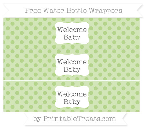 Free Pastel Light Green Polka Dot Welcome Baby Water Bottle Wrappers