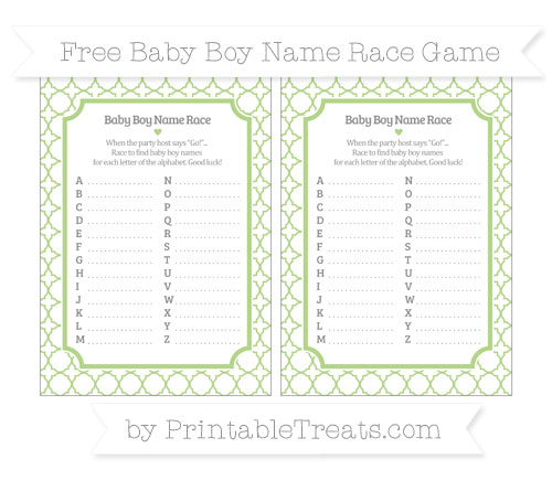 Free Pastel Light Green Quatrefoil Pattern Baby Boy Name Race Game