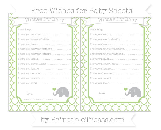 Free Pastel Light Green Quatrefoil Pattern Baby Elephant Wishes for Baby Sheets