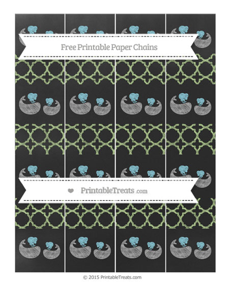 Free Pastel Light Green Quatrefoil Pattern Chalk Style Baby Whale Paper Chains