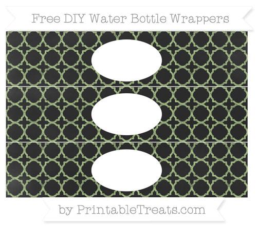 Free Pastel Light Green Quatrefoil Pattern Chalk Style DIY Water Bottle Wrappers