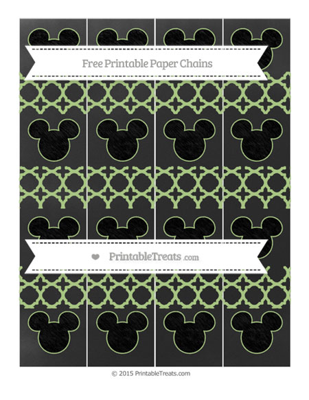 Free Pastel Light Green Quatrefoil Pattern Chalk Style Mickey Mouse Paper Chains