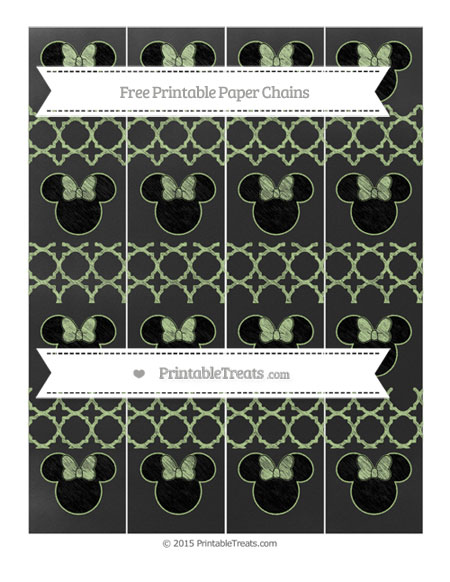 Free Pastel Light Green Quatrefoil Pattern Chalk Style Minnie Mouse Paper Chains