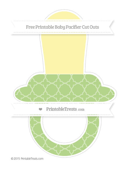 Free Pastel Light Green Quatrefoil Pattern Extra Large Baby Pacifier Cut Outs