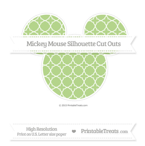 Free Pastel Light Green Quatrefoil Pattern Extra Large Mickey Mouse Silhouette Cut Outs